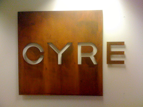 Cyre Reception Sign